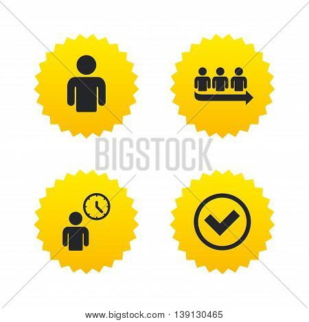 Queue icon. Person waiting sign. Check or Tick and time clock symbols. Yellow stars labels with flat icons. Vector