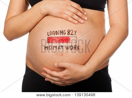 Pregnant Woman With Loading Concept, Mom At Work.