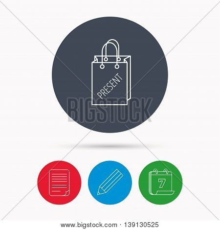 Present shopping bag icon. Gift handbag sign. Calendar, pencil or edit and document file signs. Vector
