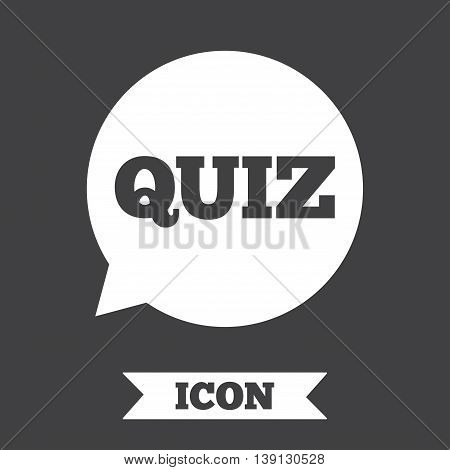 Quiz speech bubble sign icon. Questions and answers game symbol. Graphic design element. Flat quiz symbol on dark background. Vector