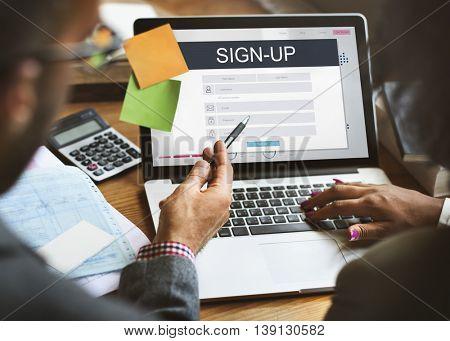 Sign Up Membership Registration Follow Concept