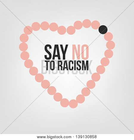 Say no to racism. Concept of the black person among white persons with demonstration of love as a heart shape