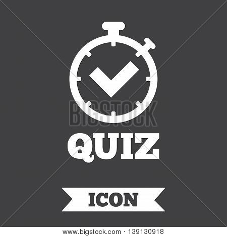 Quiz timer sign icon. Questions and answers game symbol. Graphic design element. Flat quiz timer symbol on dark background. Vector