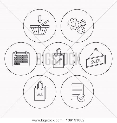 Shopping cart, sale bag icons. Sale label linear sign. Check file, calendar and cogwheel icons. Vector