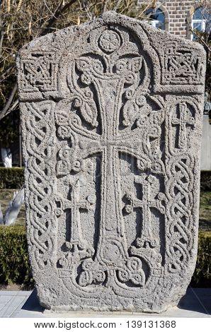 Stone Khachkar in Echmiadzin (Vagharshapat) ,medieval christian art,Armenia, Caucasus, unesco world heritage site