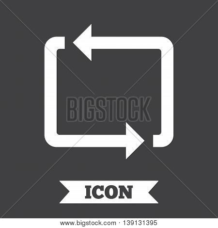 Repeat icon. Loop symbol. Refresh sign. Graphic design element. Flat repeat loop symbol on dark background. Vector