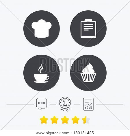 Coffee cup icon. Chef hat symbol. Muffin cupcake signs. Document file. Chat, award medal and report linear icons. Star vote ranking. Vector