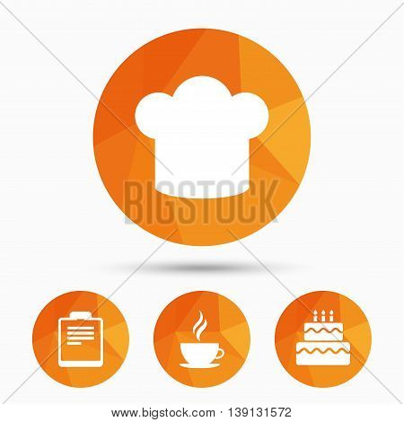 Coffee cup icon. Chef hat symbol. Birthday cake signs. Document file. Triangular low poly buttons with shadow. Vector