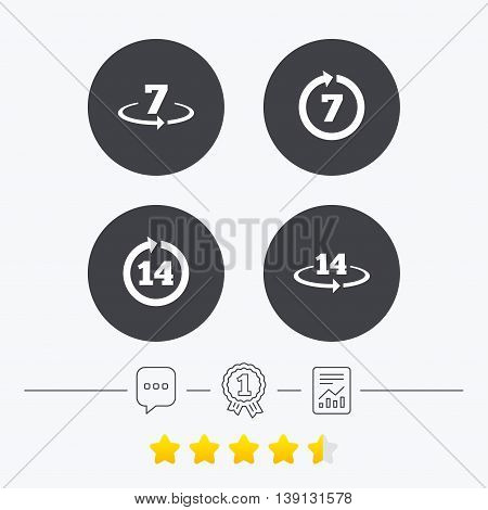 Return of goods within 7 or 14 days icons. Warranty 2 weeks exchange symbols. Chat, award medal and report linear icons. Star vote ranking. Vector