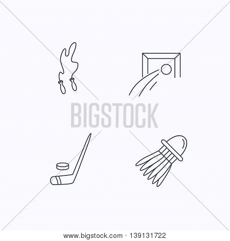 Skipping rope, football and ice hockey icons. Badminton linear sign. Flat linear icons on white background. Vector