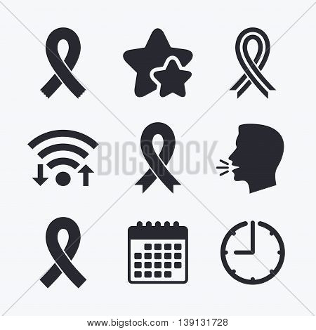 Breast cancer awareness icons. Ribbon sign symbols. Wifi internet, favorite stars, calendar and clock. Talking head. Vector