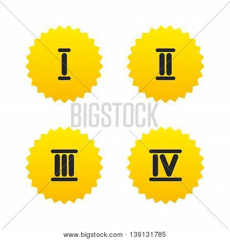 Roman numeral icons. 1, 2, 3 and 4 digit characters. Ancient Rome numeric system. Yellow stars labels with flat icons. Vector