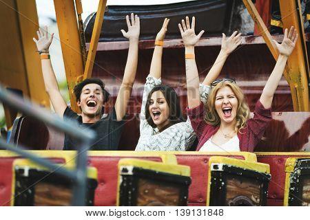 Friends Play Viking Amusement Park Concept