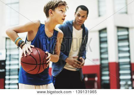 Basketball Practice Training Mentoring Playing Concept