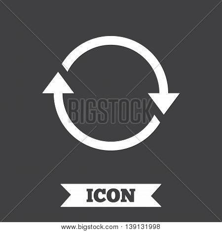 Rotation icon. Repeat symbol. Refresh sign. Graphic design element. Flat repeat loop symbol on dark background. Vector