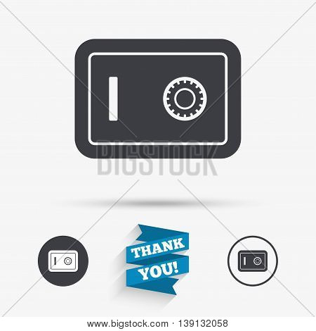Safe sign icon. Deposit lock symbol. Protection for your documents in hotel. Flat icons. Buttons with icons. Thank you ribbon. Vector