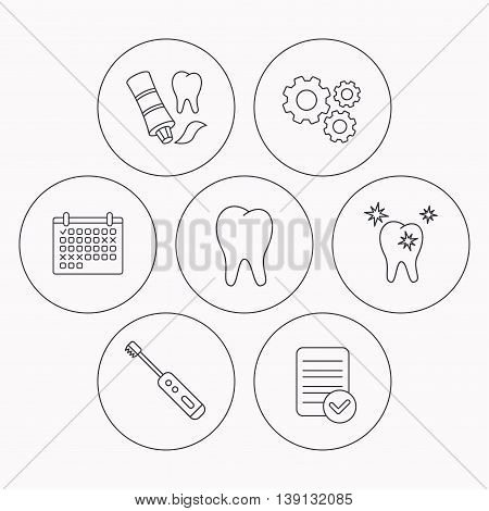 Healthy teeth, tooth and toothpaste icons. Electric toothbrush linear sign. Check file, calendar and cogwheel icons. Vector