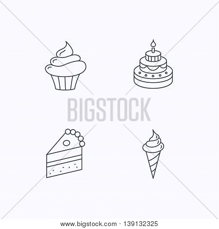Cake, cupcake and ice cream icons. Piece of cake linear sign. Flat linear icons on white background. Vector