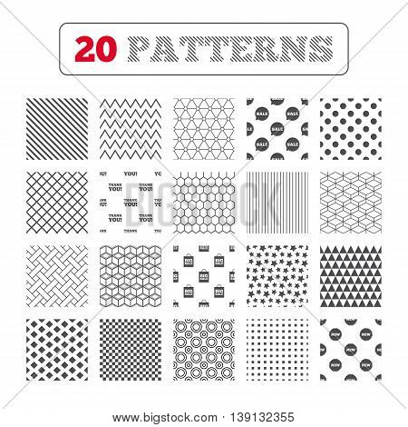 Ornament patterns, diagonal stripes and stars. Sale speech bubble icon. Thank you symbol. New star circle sign. Big sale shopping bag. Geometric textures. Vector