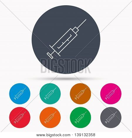 Syringe icon. Injection or vaccine instrument sign. Laboratory analyze symbol. Icons in colour circle buttons. Vector