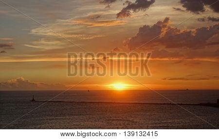 Beautiful Sunset At Kaohsiung Harbor