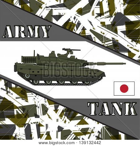 Military tank japan army. Armor vehicles illustration