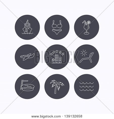 Cruise, waves and cocktail icons. Hotel, palm tree and swimming pool linear signs. Airplane, deck chair and lingerie flat line icons. Flat icons in circle buttons on white background. Vector