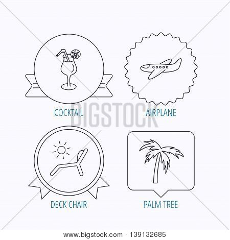Airplane, deck chair and cocktail icons. Palm tree linear sign. Award medal, star label and speech bubble designs. Vector