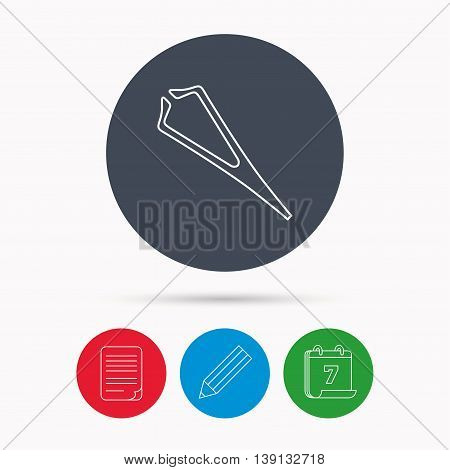 Medical tweezers icon. Cosmetic equipment sign. Calendar, pencil or edit and document file signs. Vector