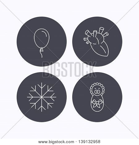Newborn, heart and air balloon icons. Snowflake linear sign. Flat icons in circle buttons on white background. Vector