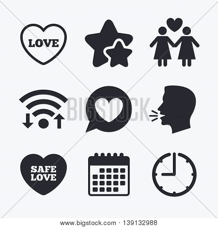 Lesbians couple sign. Speech bubble with heart icon. Female love female. Heart symbol. Wifi internet, favorite stars, calendar and clock. Talking head. Vector