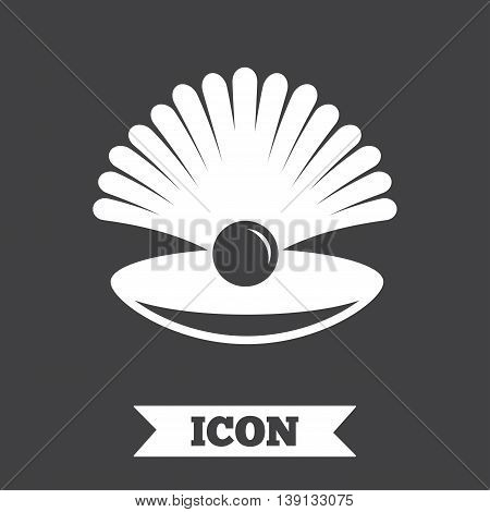 Sea shell with pearl sign icon. Conch symbol. Travel icon. Graphic design element. Flat shell symbol on dark background. Vector