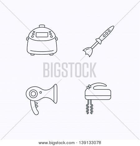 Multicooker, hair-dryer and blender icons. Mixer linear sign. Flat linear icons on white background. Vector