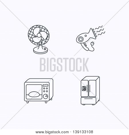 Microwave oven, hair dryer and ventilator icons. American style refrigerator linear sign. Flat linear icons on white background. Vector