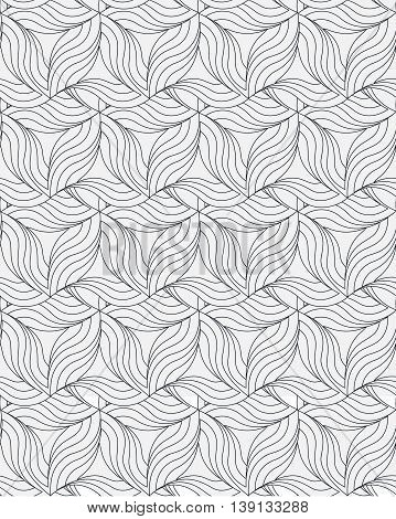 Seamless geometric pattern. Vector repeating texture. Monochromatic curly linear background.