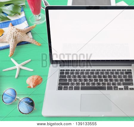 Mockup Copyspace Laptop Summer Blank Concept
