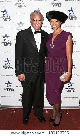 NEW YORK-OCT 19: Hon. Bobby Scott (R) (U.S. Representative) (L) and actress Victoria Rowell attend the 2015 National Arts Awards at Cipriani 42nd Street on October 19, 2015 in New York City.
