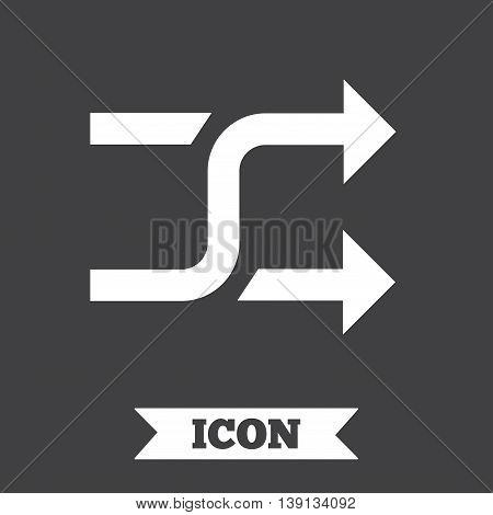 Shuffle sign icon. Random symbol. Graphic design element. Flat shuffle symbol on dark background. Vector