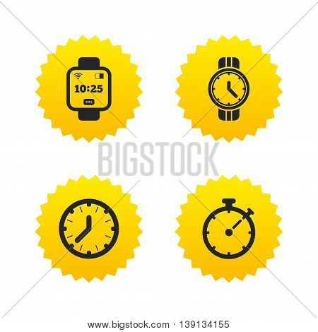 Smart watch icons. Mechanical clock time, Stopwatch timer symbols. Wrist digital watch sign. Yellow stars labels with flat icons. Vector