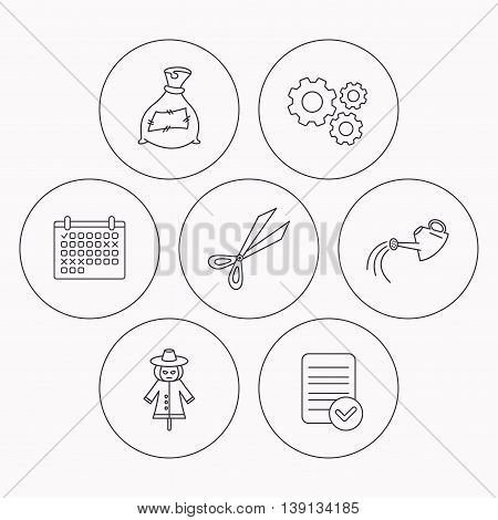 Scissors, watering can and watering can icons. Bag of fertilizer linear sign. Check file, calendar and cogwheel icons. Vector