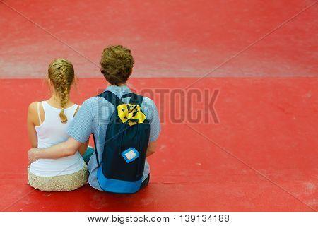 Couple On Trip Hugging.