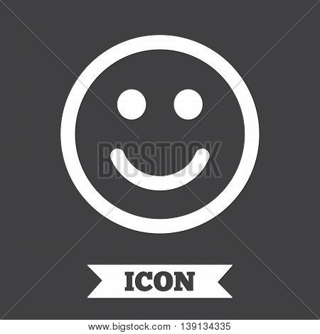 Smile icon. Happy face chat symbol. Graphic design element. Flat smile symbol on dark background. Vector