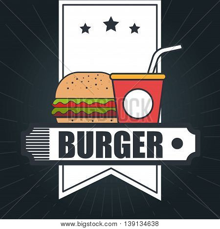delicious burger with  soda drink isolated icon design, vector illustration  graphic