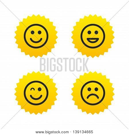 Smile icons. Happy, sad and wink faces symbol. Laughing lol smiley signs. Yellow stars labels with flat icons. Vector