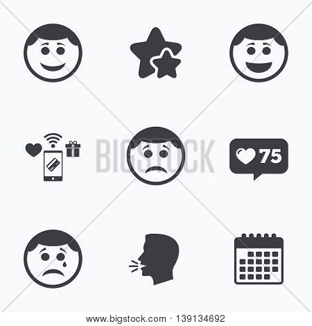Circle smile face icons. Happy, sad, cry signs. Happy smiley chat symbol. Sadness depression and crying signs. Flat talking head, calendar icons. Stars, like counter icons. Vector