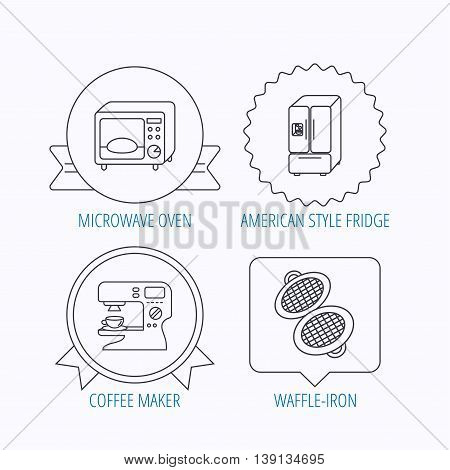 Microwave oven, waffle-iron and American style fridge icons. Coffee maker linear sign. Award medal, star label and speech bubble designs. Vector