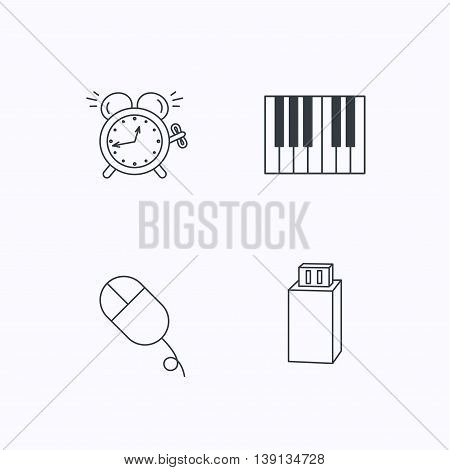 Alarm clock, USB flash and PC mouse icons. Piano linear sign. Flat linear icons on white background. Vector