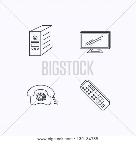TV remote, retro phone and TV remote icons. Widescreen TV linear sign. Flat linear icons on white background. Vector