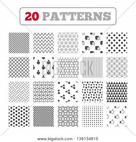 Ornament patterns, diagonal stripes and stars. Social media icons. Chat speech bubble and Share link symbols. Like thumb up finger sign. Human person profile. Geometric textures. Vector