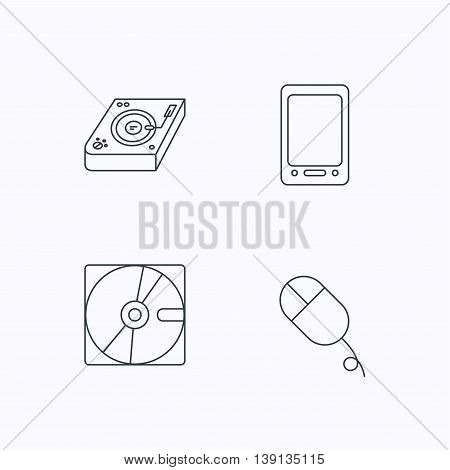 Tablet PC, Hard disk and pc mouse icons. Club music linear sign. Flat linear icons on white background. Vector